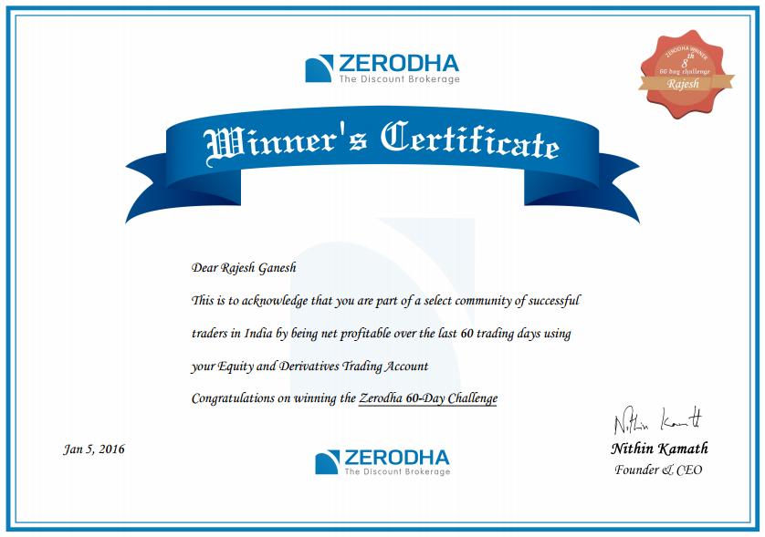 Zerodha Winner Certificate